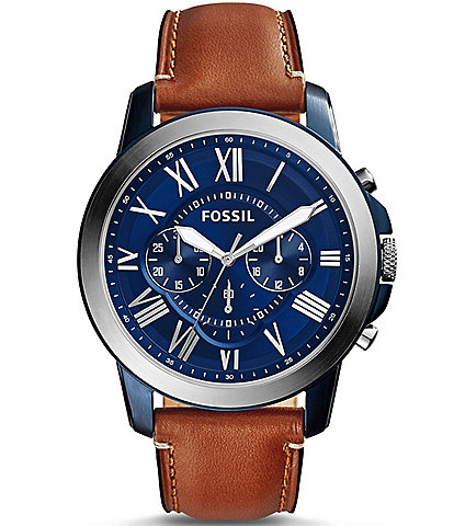 Fossil Grant Stainless Steel Chronograph Leather Strap Watch