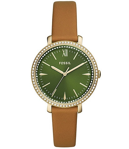 Fossil Jacqueline Green Dial Glitz Leather Strap Watch