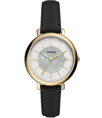 Fossil Jacqueline Solar Black Leather Watch