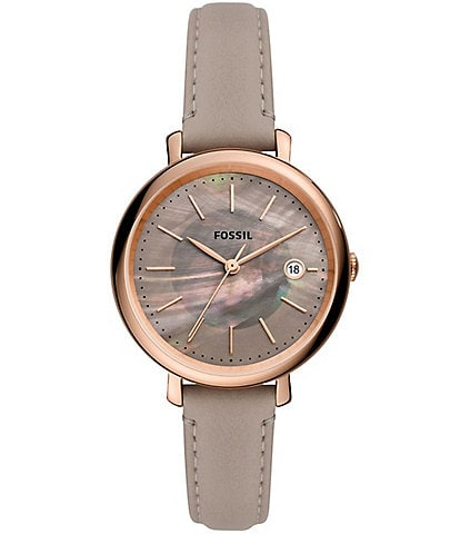 Fossil Jacqueline Solar Gray Leather Watch
