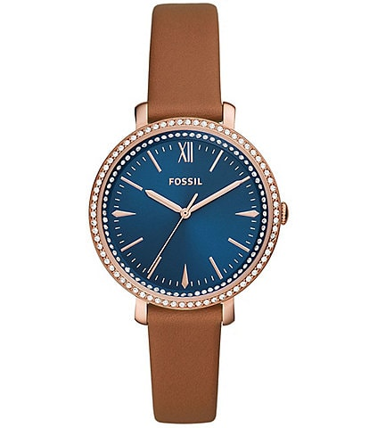 Fossil Jacqueline Three-Hand Blue Dial Glitz Leather Watch