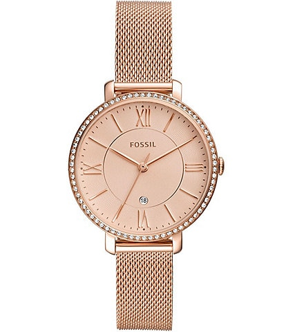 Fossil Jacqueline Three-Hand Rose Gold-Tone Mesh Stainless Steel Watch