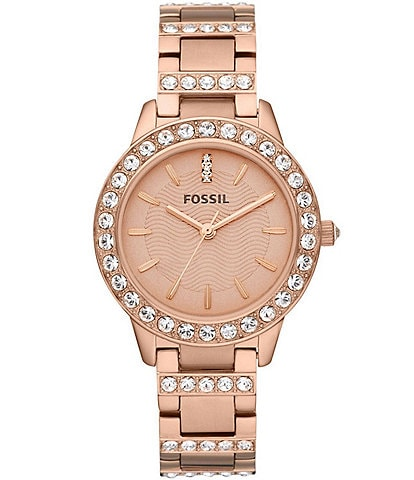 Fossil Jessie Rose Goldtone Glitz 3 Hand Stainless Steel Bracelet Watch