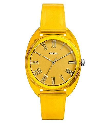 Fossil Jude Three-Hand Yellow Silicone Watch