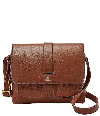 Fossil Kinley Small Fold Over Leather Crossbody Bag