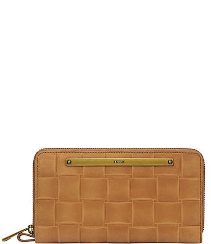Fossil Liza Embossed Woven Zip Around Clutch Wallet