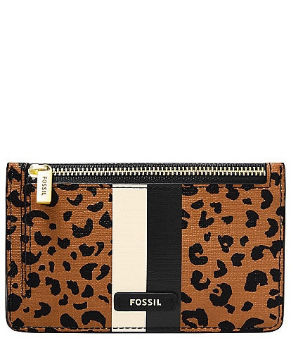Fossil Logan Cheetah Zip Card Case