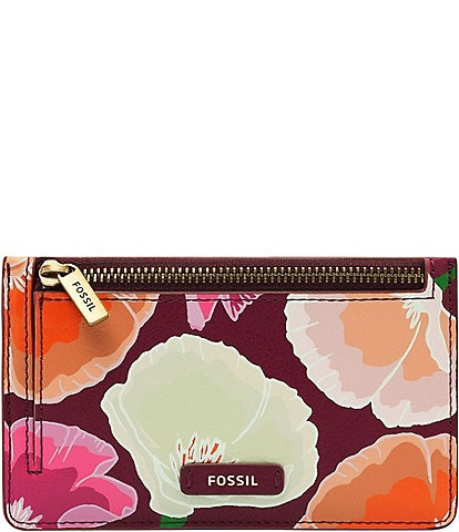 Fossil Logan Floral Print Zip Leather Card Case