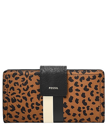 Fossil Logan RFID Cheetah Tab Clutch Wallet
