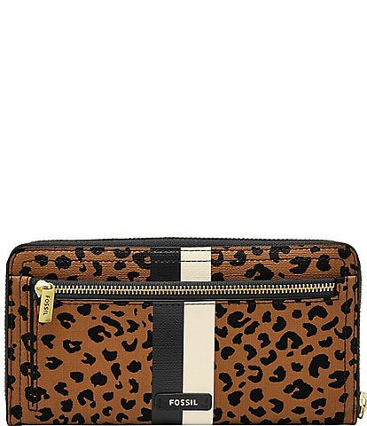 Fossil Logan RFID Cheetah Zip Around Clutch Wallet