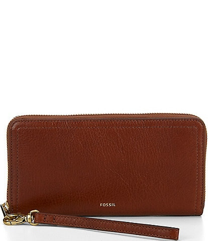 Fossil Logan RFID Zip-Around Leather Wallet