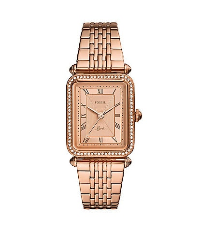 Fossil Lyric Three Hand Rose Goldtone Stainless Steel Bracelet Watch