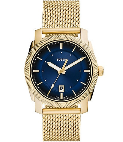 Fossil Machine 3-Hand Date Goldtone Stainless Steel Mesh Watch