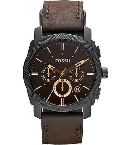 Fossil Machine Mid-Size Chronograph Brown Leather Watch