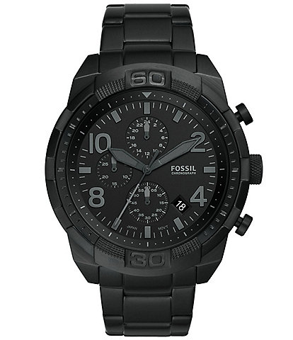 Fossil Men's Bronson Chronograph Black Stainless Steel Bracelet Watch