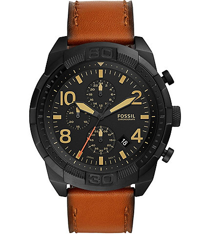 Fossil Men's Bronson Leather Strap Chronograph Watch