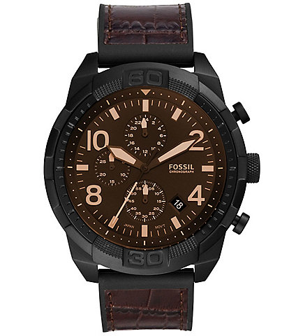 Fossil Men's Bronson Sport Brown Crocodile Leather Chronograph Watch