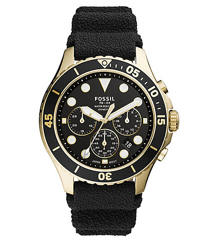Fossil Men's FB-03 Chronograph Black Silicone Watch