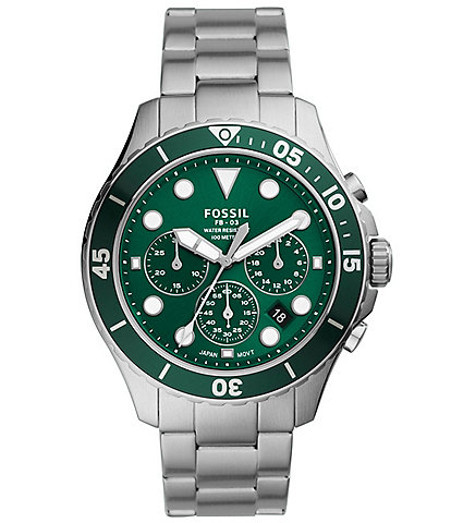 Fossil Men's FB-03 Chronograph Stainless Steel Green Dial Watch