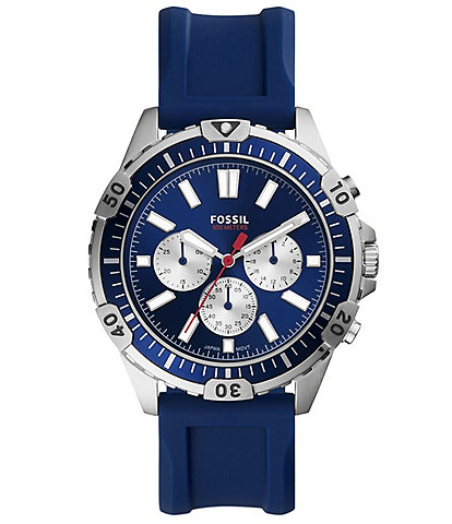 Fossil Men's Garrett Chronograph Navy Silicone Watch