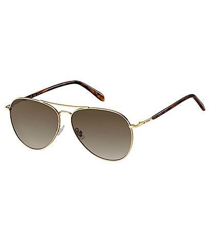 Fossil Men's Gold Aviator Gradient Sunglasses