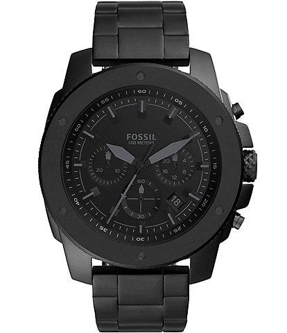 Fossil Men's Mega Machine Chronograph Black Stainless Steel