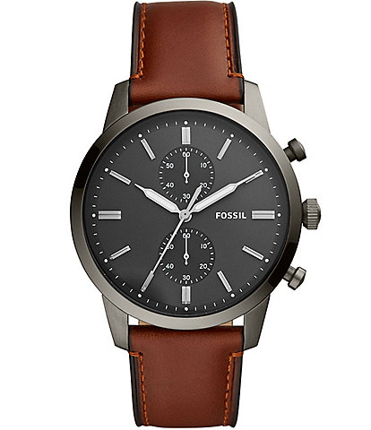 Fossil Men's Townsman Chronograph Amber Leather Watch