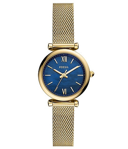 Fossil Mini Carlie 3-Hand Gold-Tone Stainless Steel Mesh Watch