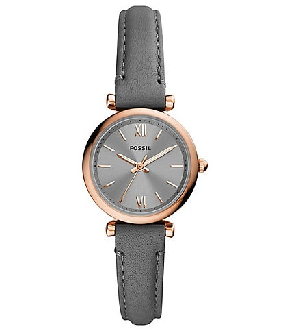 Fossil Mini Carlie 3-Hand Gray Leather Strap Watch