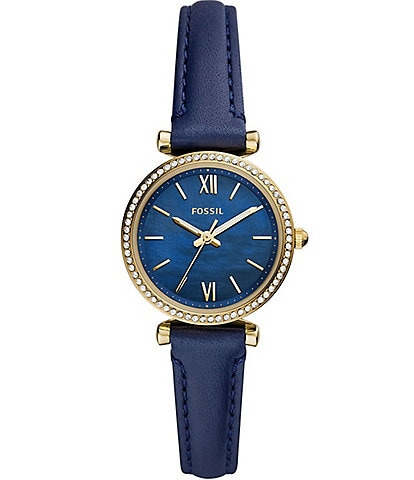 Fossil Mini Carlie 3-Hand Navy Leather Watch