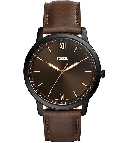 Fossil Minimalist Three-Hand Brown Leather Strap Watch
