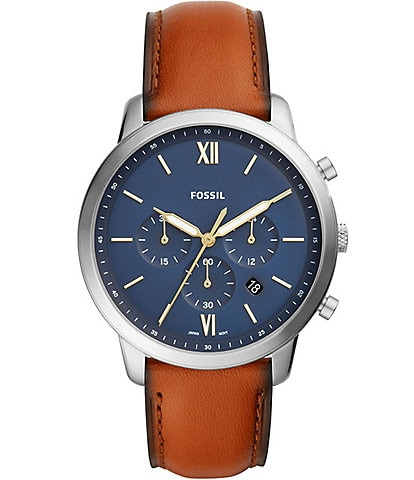Fossil Neutra Chronograph Blue Dial Brown Leather Watch