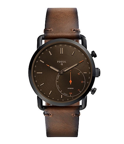 Fossil Q Commuter Leather-Strap Brown Dial Hybrid SmartWatch