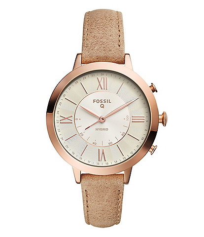 Fossil Q Jacqueline Leather-Strap Hybrid Smartwatch