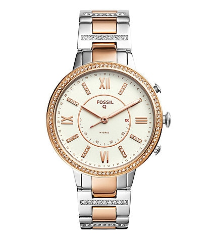 Fossil Q Virginia Pav Two-Tone Bracelet Hybrid SmartWatch