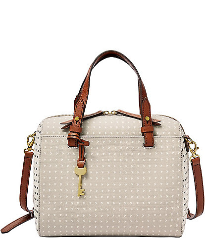 Fossil Rachel Heart-Print Satchel Bag
