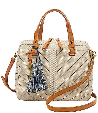 Fossil Rachel Natural Stripe Satchel Bag