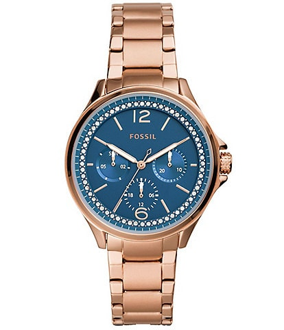 Fossil Sadie Blue Dial Multifunction Rose Gold-Tone Stainless Steel Bracelet Watch