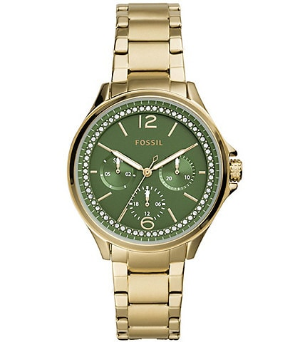 Fossil Sadie Green Dial Gold Tone Stainless Steel Multifunction Watch