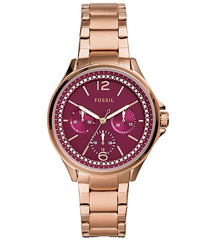 Fossil Sadie Pink Dial Multifunction Rose Gold-Tone Stainless Steel Bracelet Watch