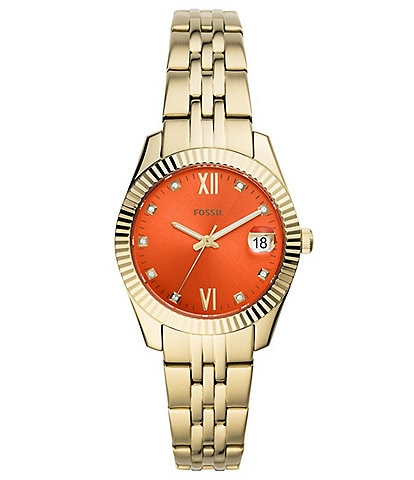 Fossil Scarlette Mini Three-Hand Date Orange Dial Bracelet Watch