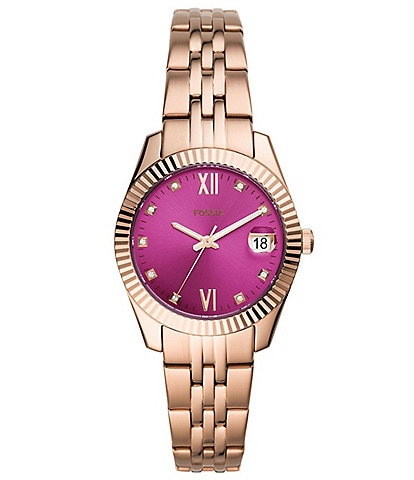 Fossil Scarlette Mini Three Hand Date Rose Gold Pink Dial Bracelet Watch