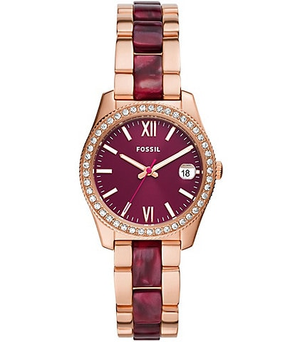 Fossil Scarlette Mini Three-Hand Date Two-Tone Acetate and Stainless Steel Watch