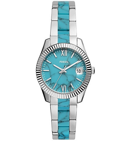 Fossil Scarlette Mini Three-Hand Date Blue Dial Two-Tone Acetate and Stainless Steel Watch