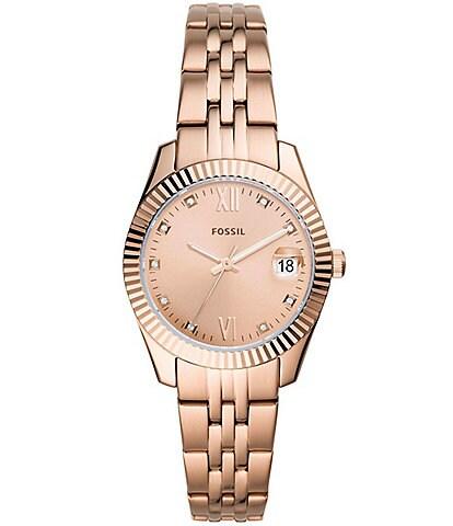 Fossil Scarlette Mini Three-Hand Rose Gold Bracelet Watch