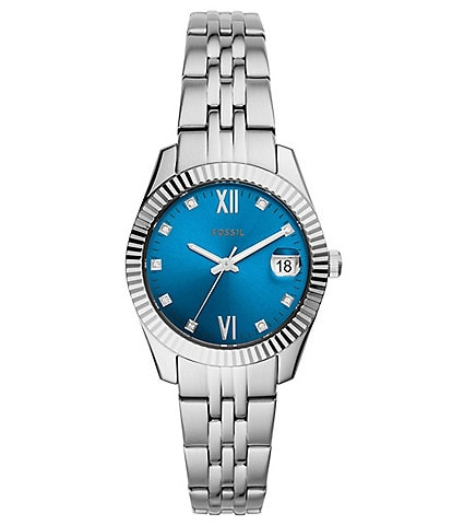 Fossil Scarlette Mini Three-Hand Stainless Steel Blue Dial Bracelet Watch