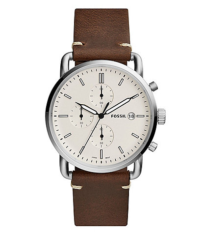 Fossil The Commuter Chronograph Cream Dial Brown Leather Watch