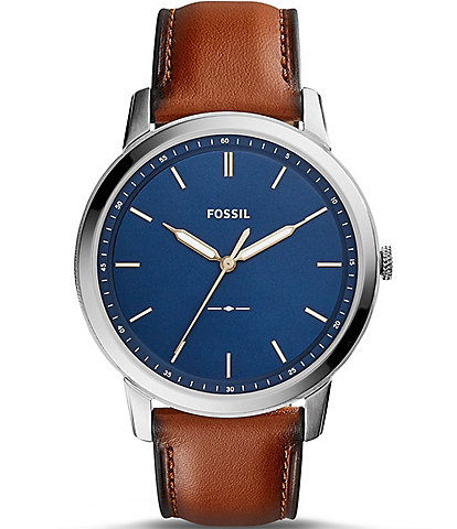 Fossil The Minimalist Analog Leather-Strap Watch