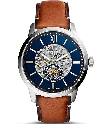 Fossil Townsman Automatic Leather-Strap Watch