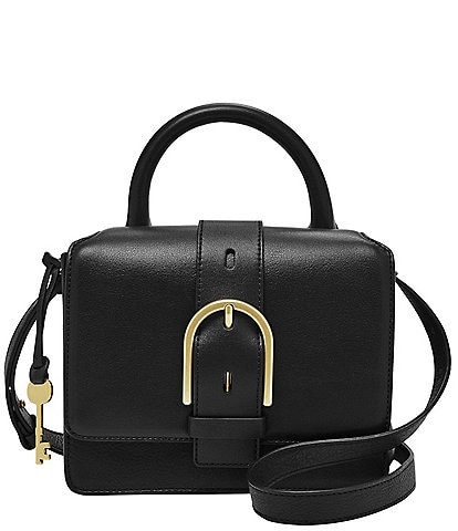 Fossil Wiley Top Handle Leather Buckle Crossbody Bag